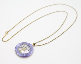 Vintage 1970s Gold Filled Purple Acrylic Iridescent Biomorphic Necklace. [3051]