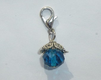 Dangle Blue Faceted Dangle for Bracelets, Floating Charms, Necklaces & Keychains  D007