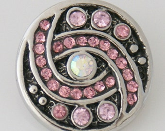 KB7656  Pink Crystals Set in Black Enamel - Clear Crystal Center