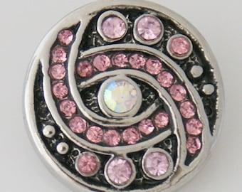 KB7656  Pink Crystals Set in Black Enamel - Clear Crystal Center