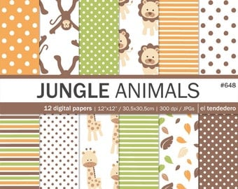 """Jungle animals digital paper pack """"jungle animals"""". Digital papers with animal patterns backgrounds, to use in scrapbooking, card making..."""
