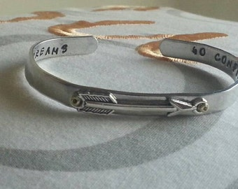Go confidently in the direction of your dreams- aluminum handstamped cuff bracelet