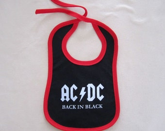 white and black rock heavy metal baby bib ac dc, ac dc baby