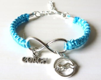Swiming Coach Athletic Charm Infinity Bracelet Coach Charm You Choose Your Cord Color(s)