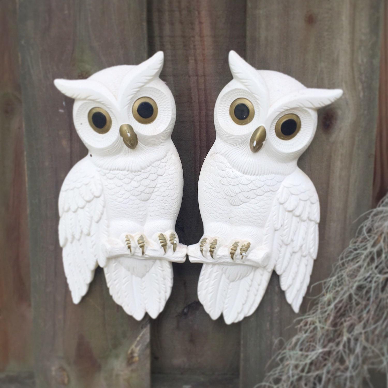 2 Retro Owl wall art White decor hanging mid century