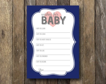 Printable Baby Shower Wishes - Wishes For Baby - Navy Pink Baby Shower - Wishes for Baby Card - Pink Navy - Baby Shower Wishes for Baby
