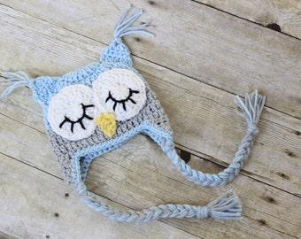 Crochet Owl Hat, Owl Beanie Baby Boy owl hat Light Blue Gray owl hat Newborn sleepy owl hat photo prop Baby Owl Hat Toddler Owl Hat