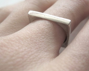 Vintage Sterling Silver Square Band Ring Size US 6.5