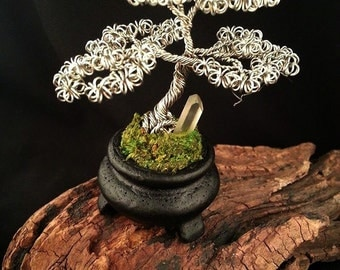 Tree of life, Twisted Wire Tree, Sculpture, Quartz Crystal