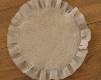 "Burlap Round, Ruffled Table Runner 18"", 24"" or 26"""