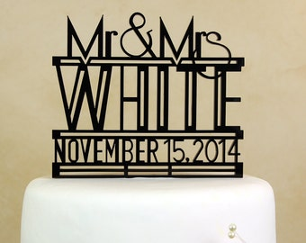 "Art Deco Mr. and Mrs. personalized and dated ""in your name and date"" wedding cake topper by Distinctly Inspired (style RD-4)"