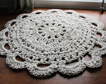 Round Handmade Crochet Rope Rug , 3 Foot Round Rug, Natural Off-White Doily Rug, Shabby Chic Area Rug, Nursery Throw Rug, Tipi Throw Rug
