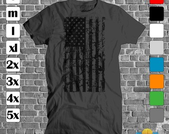 Available in over 10 colors Mens new t shirt cotton top american flag usa patriotic black ink