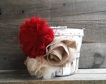Rustic Flower Girl Basket/Bucket with Burlap Flowers, Rustic Wedding Decor, Flower Girl Basket, Shabby Chic Flower Girl Basket