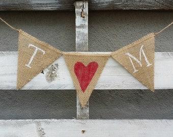 Personalized Wedding Initials Burlap Banner, Rustic Wedding Banner, Initials Engagement Banner, Bridal Shower Banner, Wedding Photo Prop