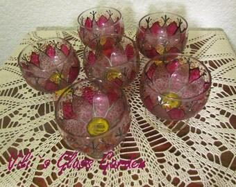 "Hand painted Ice cream bowls "" Purple Gerber"", set of six"