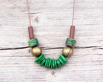 Green and Brown Ceramic Necklace, Boho Necklace, Geometric Necklace, Long Necklace, Ceramic Jewelry
