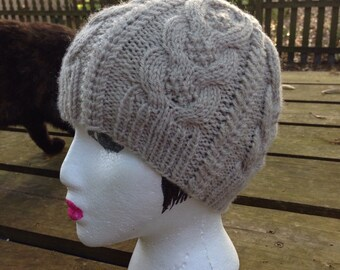 Cabled Wool Blend Hat