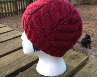 Berry Coloured Hand Knit Hat