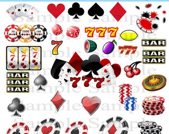 Casino Digital Clipart INSTANT DOWNLOAD jpg Images Clip Art Las Vegas Casino Personal and Commercial Use 33 jpeg Images