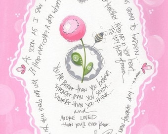 Winnie the Pooh art - Pooh quotes - Pooh girls artwork - Girls nursery art painting - Children's bedroom art -