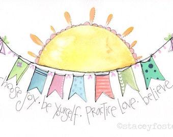 You are my sunshine - Sunshine art - Artwork for kids - Encouraging kids art - Motivational print - Hand lettered art - Girls art for room