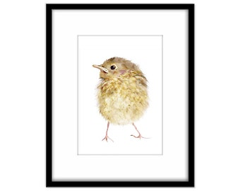 Nursery Art Instant Download, Baby Bird, Robin Fledgling, Printable Poster, Kids Wall Art,  Print Your Own Art and Cards