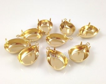 10pcs 24K Gold Plated Teardrop Pear Setting CLOSE BACK 1 Loop 18x13mm