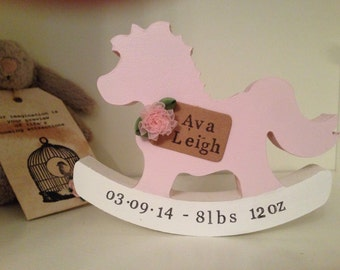 Hand painted MDF rocking horse, baby girl and baby boy