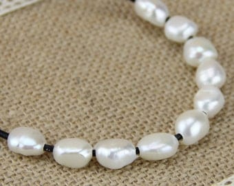 Large hole pearl bead wholesale,2mm large hole freshwater pearls,9mm white baroque pearl bead wholesale,nugget irregular shape,loose pearl