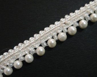 Rich white Pearl Lace,Sari Border,Scarf & Dupatta Lace Ribbon,Decorating Supplies Price for 01 Yard SMP67