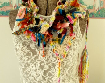 Kaleidoscope Scarf Crochet Scrappy Silk Ribbons Photo Prop Art Scarf Multicolor Accessory Hair Scarflet Colorful