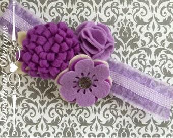 Lavender Felt Flowers Headband