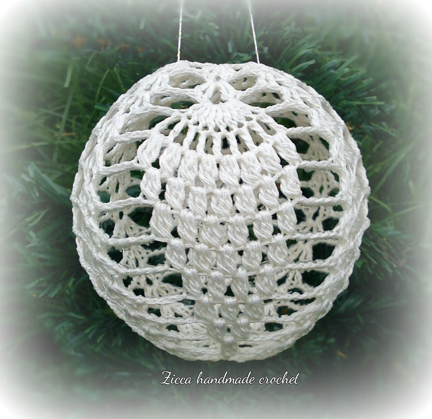 Crochet Christmas ball ornament pattern symbol diagram