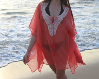 Women's beach cover up in coral chiffon