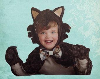 Wolf Cape Costume Child  Size 3-8