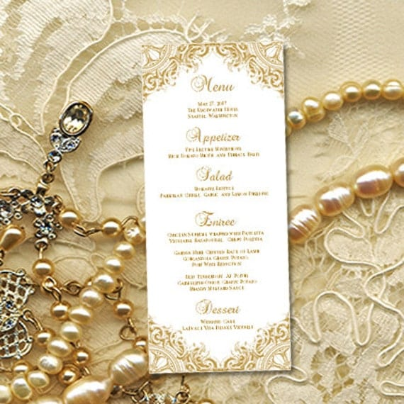 menu templates for weddings - printable wedding menu template vintage gold
