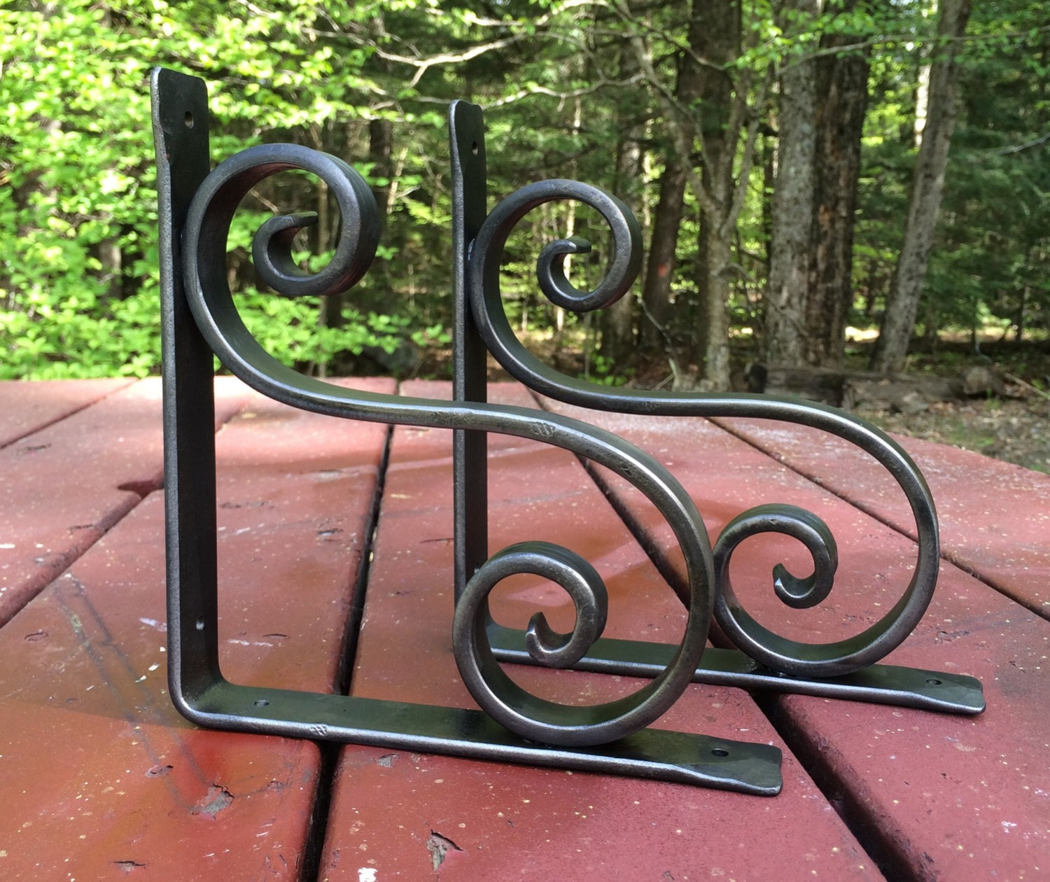 wrought iron shelf bracket metal counter by vermontforgings. Black Bedroom Furniture Sets. Home Design Ideas