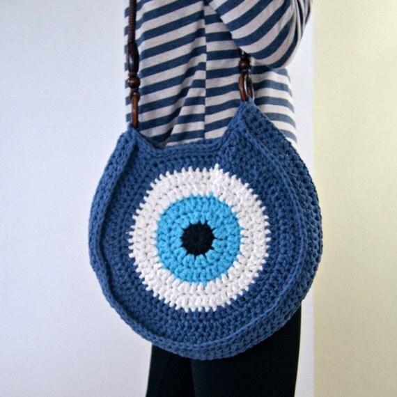Crocheted evil eye bag Blue Handbag Greek Eye by Soulmadehome