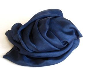 Inky Blue Silk Scarf