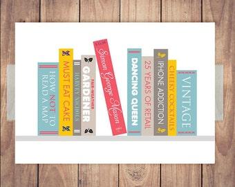 Personalised Book Shelf Print