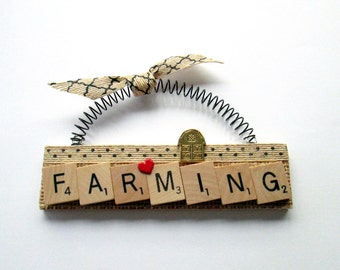 Love Farming Scrabble Tile Ornament
