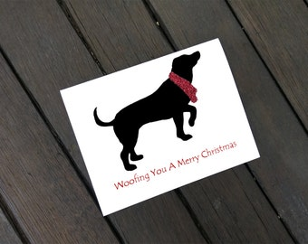 Woofing You A Merry Christmas - Lab Cards - Labrador Dog Card - Dog with Scarf - Animal Card - Christmas Card