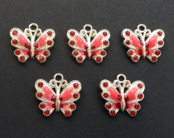 Butterfly Charm (5) Antique Silver, Red Enamel and Red Rhinestone Charm, Can Use For Bracelets, Necklaces, Earrings, Wine Charms, Etc.