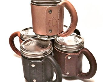 Leather Mason Jar Mug Handle
