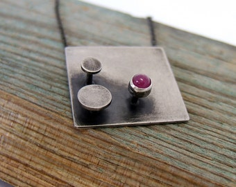 Sterling Silver Ruby Pendant