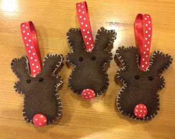 Set of three felt reindeer christmas decorations