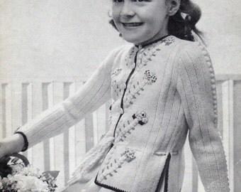 Girls Tyrolean Style Cardigan, Vintage Knitting Pattern No. B1575