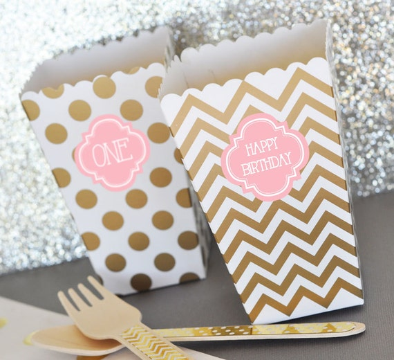 First Birthday Party In A Box In Gold Mint And Pink: Pink And Gold Birthday Party Decor Favor Boxes Blush Pink
