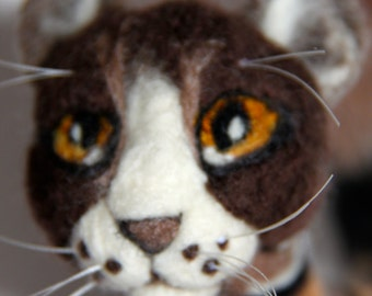 OOAK Cat Handmade Needle Felted Tabby Cat for Gift or Collection